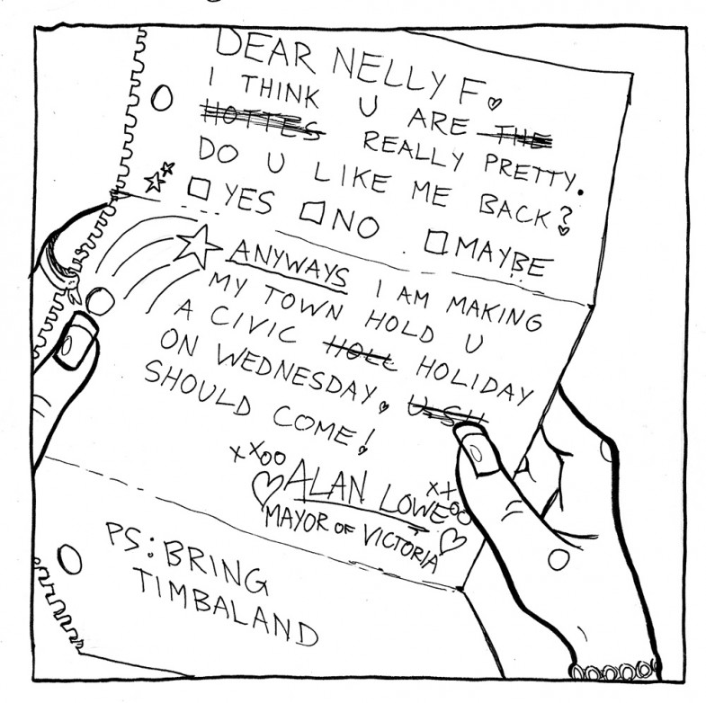The Martlet editorial cartoon March 19 2007; Nelly Furtado day