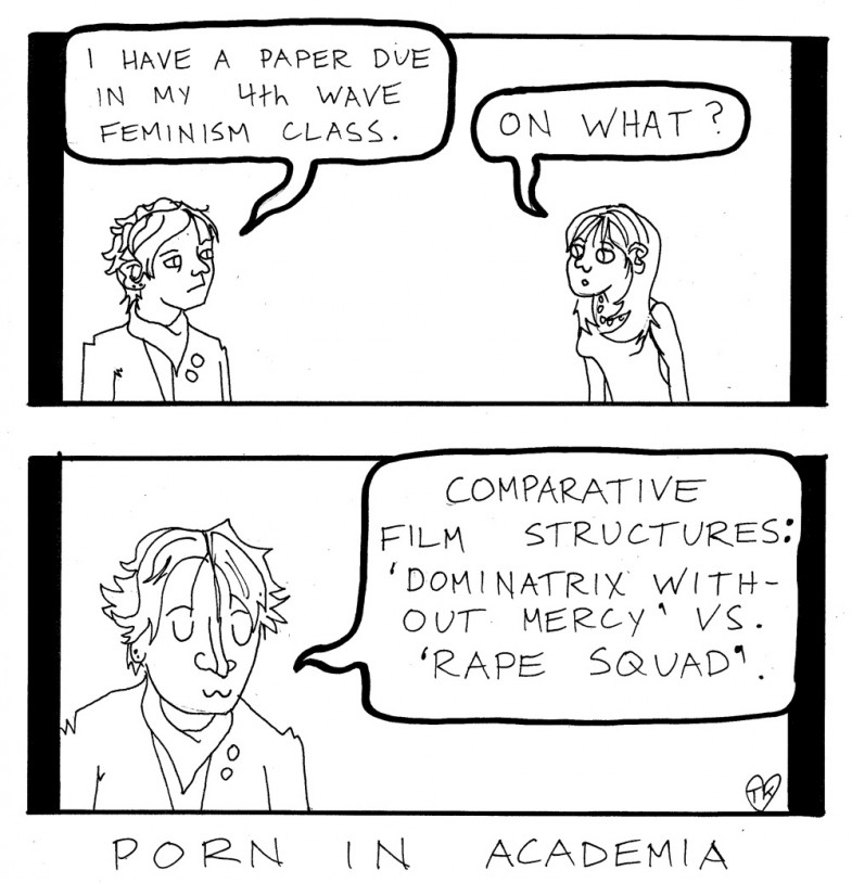 The Martlet editorial cartoon May 2007; porn in academia